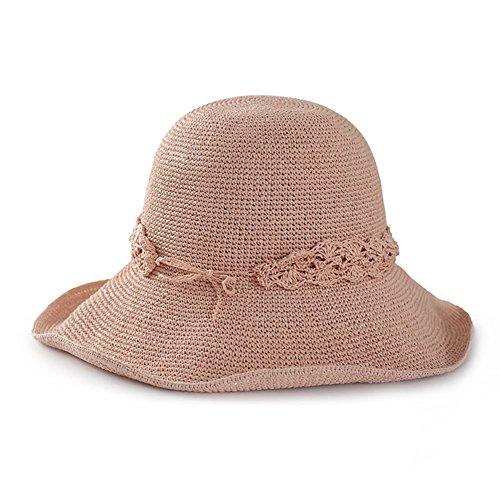 WYYY Chapeau Dame Chapeau De Soleil Pliable Lace Fabriqué À La Main Côté Large Protection Contre Le Soleil (Couleur : Rose)