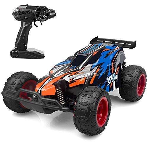 JEYPOD Remote Control Car, 2.4 GHZ High Speed Racing Car with 4 Batteries, Blue