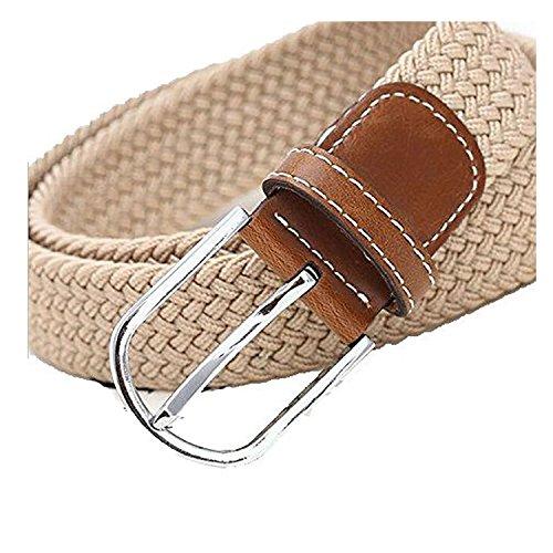 SAMGU Loisirs Mode hommes occasionnel tressé élastique ceinture Unisex Men Women Stretch Belt Couleur beige
