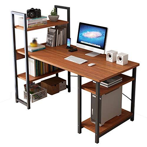 Escritorio de computadora escritorio simple con estantería combinación de una mesa estudiante simple hogar doble escritorio de escritura para oficina en casa (tamaño: S; color: marrón)