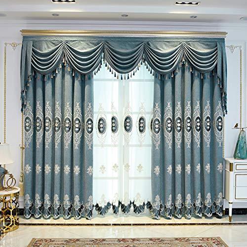 2 paneles opacas con ojales y aislamiento térmico cálido para dormitorio, chenilla jacquard bordada cortina con tul, azul, 120 x 190 x 2 piezas