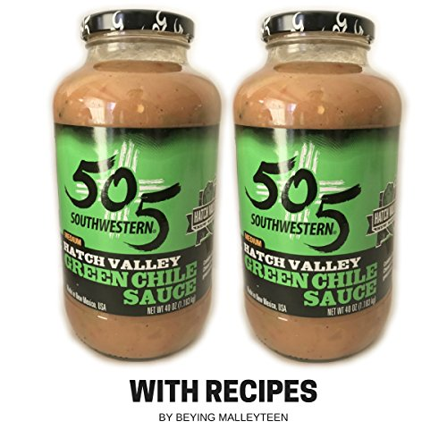 505 Southwestern Green Chile Medium Sauce (2 pack - 40oz each) with Unique Recipes