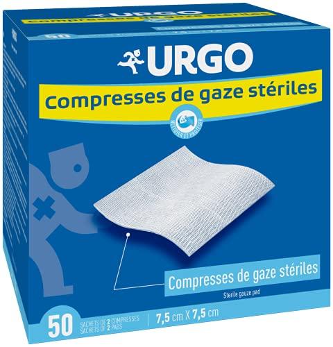 Urgo - Compresses de gaz stériles - Absorption - Boîte de 50 sachets de 2 compresses - 7,5cm x 7,5cm
