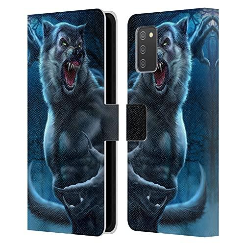Head Case Designs Licenciado Oficialmente Tom Wood Hombre Lobo Horror Carcasa de Cuero Tipo Libro Compatible con Galaxy A02s / M02s (2021)