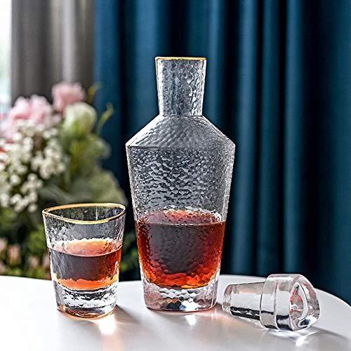 Jarra de whisky Set de decantador de whisky del triángulo, Phnom Penh Decanter (35 oz) y cuatro gafas de whisky (12 oz), juego de regalos de decantación de licores para hombres o mujeres Regalo de whi