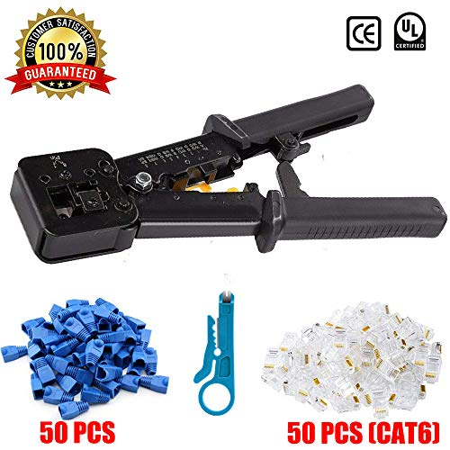 EZ RJ45 8p8c Crimp Tool Kit Cat5 Cat5e Cat6 Pass Through Crimping, Ethernet Crimper Network Tool for Passthrough and Legacy Connector with Many Practical Connectors and Covers