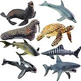 Kaxofang Conjunto de Juguetes de Animales de Vida Marina Tortuga Figuras Morsa PláStico TiburóN DelfíN SimulacióN SóLida Modelo del Mundo Submarino Juguete para NiiOs