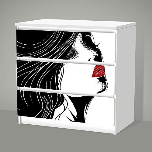 posterdeluxe Aufkleber für IKEA Malm - 3 Schubladen - Erdbeermund - Sticker Klebefolie Möbel Tattoo