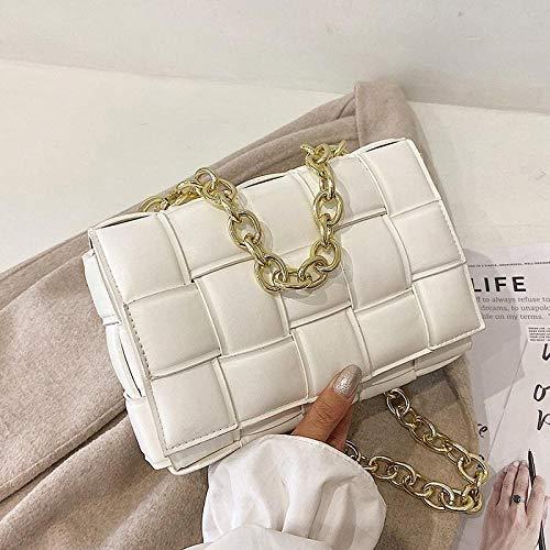 FWJSDPZ Luxury Weave Crossbody Bags for Women Fashion Quality Pu Leather Chain Woven Shoulder Bag Female Designer Handbag and Purse (Color : White, Size : 23cmx6cmx15cm)