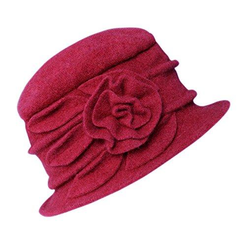 Urban GoCo Lana Cloche Sombreros Gorras para Mujer Vintage Floral Trimmed Sombreros de Invierno (#1 Rojo)