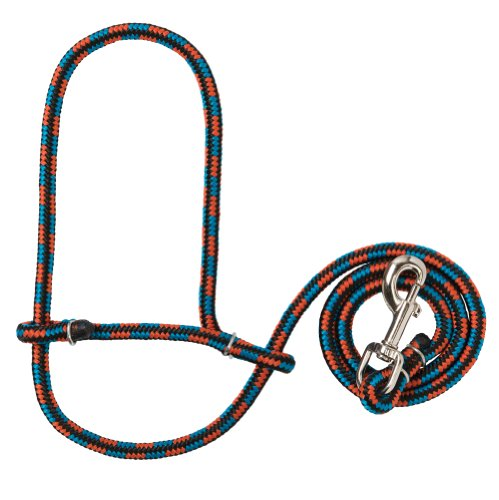 Weaver Leather Poly Rope Sheep Halter with Snap, Black/Blue/Orange