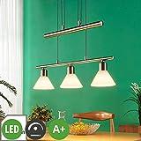 Lindby LED Hängelampe 3 flammig, höhenverstellbar | Esstisch Pendelleuchte inkl. dimmbaren, Easydim LED Leuchtmittel A+ | warmweiß (3.000K) | Hängeleuchte Glas Metall | Balkenpendelleuchte