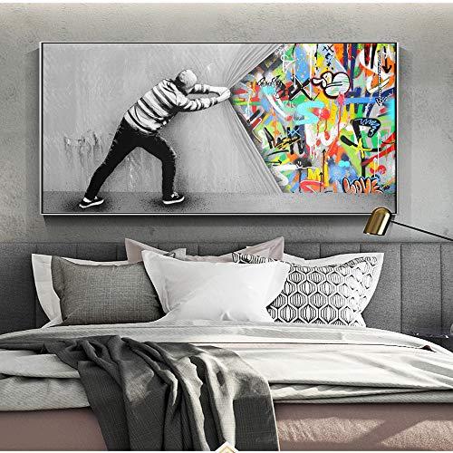 tzxdbh Graffiti Art Wall Pictures Voor woonkamer achter het gordijn Street Art Canvas Schilderijen Op de muur Posters En Prints Quadro-in a 50x100cm No Frame