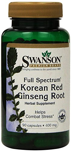 Swanson Premium Full-Spectrum Korean Red Ginseng Root 400 mg 90 Caps - Pack of Two