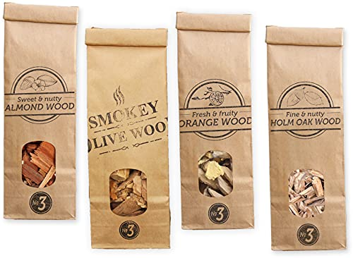 Smokey Olive Wood SOW-140 Olive and Beech Wood Chips, Orange, Almond and Holm Oak, Brown, Grey, Yellow, Red