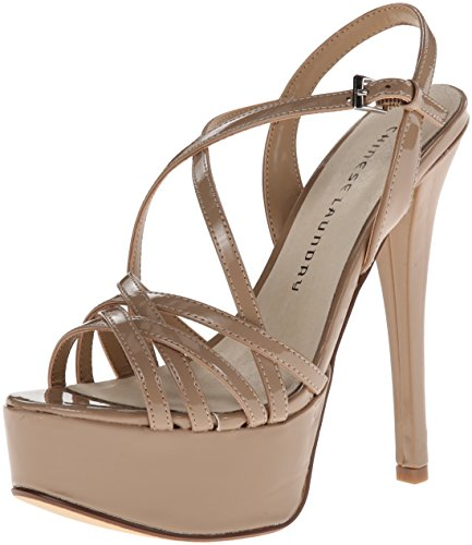 Chinese Laundry Women's Teaser Platform Dress Sandal, Nude Patent, 5 M US