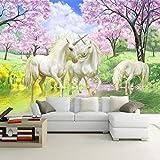 WPDX Personalizado Papel Pintado 3d Murales Bosque de flor de durazno y unicornio Papel Tapiz Sala De Estar Decoración de Pared Wallpaper W200XH175 CM