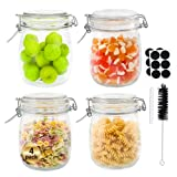 Glass Octopus 25oz Glass Jars with Airtight Lids, Wide Mouth Mason Jars with Leak Proof Rubber Gasket for Kitchen, Clear Glass Storage Containers for Snacks, Jams, Candy, 4 Pack(750ML), Round