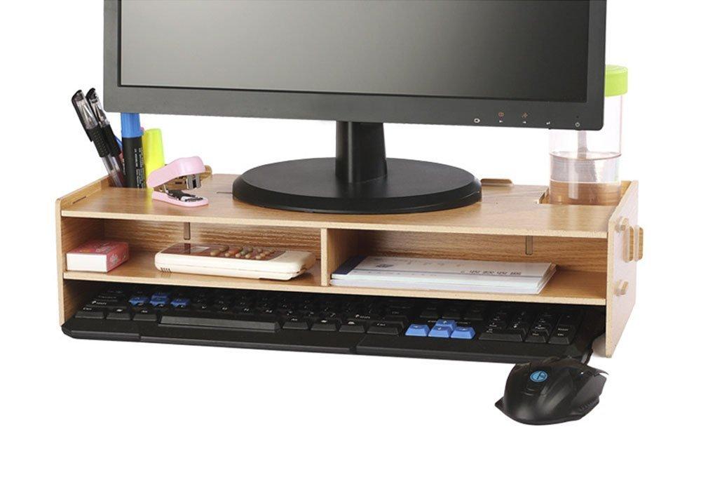 crayfomo-Soporte para monitor de madera, para TV, PC, ordenador portátil, escritorio y almacenamiento de 2 niveles: Amazon.es: Hogar