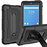 JSUSOU Case for Onn 7 Inch Tablet 2020/2019   Heavy Duty Shockproof Silicone Rugged Protective with Built-in Kickstand Case Cover for Walmart Onn 7inch Android Tablet 2019/2020 Release   Black