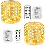 Homestarry 2 Sets Fairy String Lights Battery Operated 33 ft 132 LED 8 Lighting Mode with Remote, Silver Wire Wateroroof Twinkle Lights for Bedroom Wedding Party Chirstmas, Warm White
