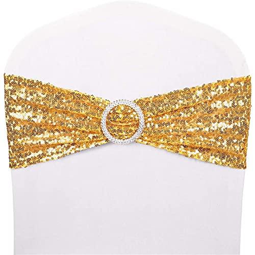 Fajas de lentejuelas para silla, bandas elásticas de licra para decoración romántica de boda, fiesta, hogar, silla, hotel, decoración (dorado, 20)