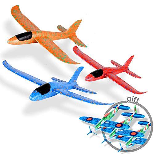 Ulikey 3 Stück Segelflugzeug, Kinder Styroporflieger Flugzeug Spielzeug Outdoor-Sportarten Spielzeug, Manuelles Wurfspiel, Spaß, Herausforderung, Modell Schaum Flugzeug - Orange, Blau, Pink