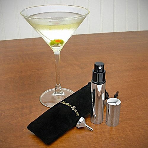 Stainless Steel Martini Vermouth Atomizer Spray Set (Includes Sprayer, Funnel, and Black Pouch) - Martini Mister - Gift Boxed