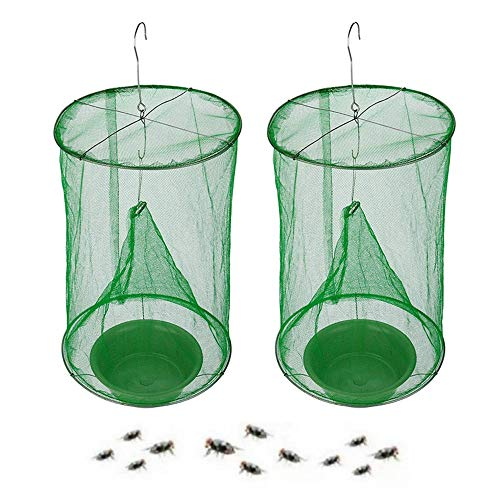 Ranch Fly Trap with Bait Tray Flay Catcher Reusable Fly Catcher Cage for Indoor or Outdoor Family Farms, Park, Restaurants (2 Pack)