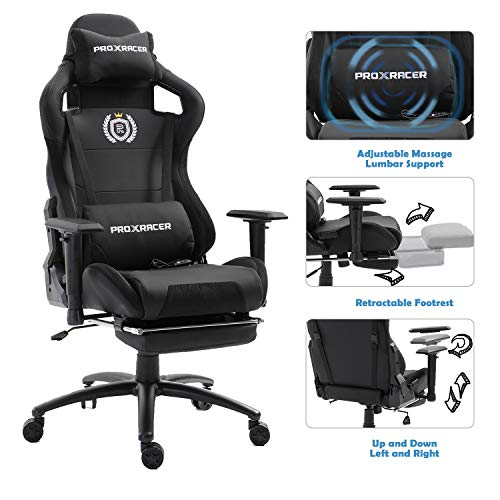PROXRACER Massage Gaming Chair with Footrest Racing Chair Heavy Duty E-Sports Chair for pro Gamer Seat Height Adjustable Multi-Function Recliner with Headrest and Lumbar Support Pillow (Black/Black) chairs Dining Features Game Kitchen Video