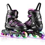 Kids Adjustable Roller Skates,Light up Wheels Roller Skates for Girls Boys Youth, 4 Size Adjustable Inline Skates for Outdoor (Medium, Purple)