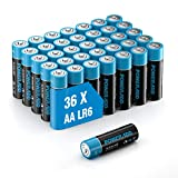 Poweradd Pilas Alcalinas AA Baterías LR6 de 10 Años Larga Duración para Linternas, Relojes, Mandos a Distancia, Juguetes-36 Unidades de 1.5V