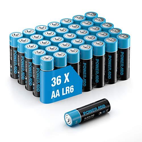 Poweradd Pilas Alcalinas AA Baterías LR6 de 10 Años Larga Duración para Linternas, Relojes, Mandos a Distancia,...