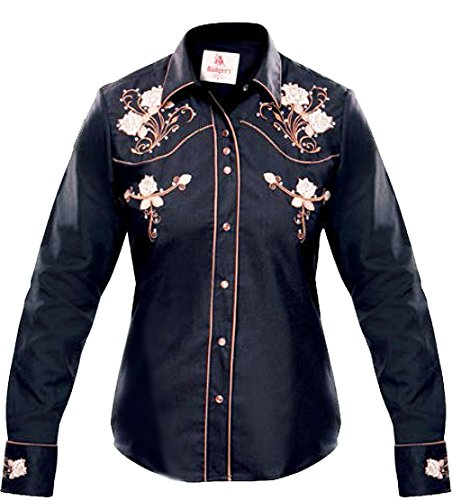 Modestone Women's Embroidered Fitted Western Camisa Vaquera Floral Black L