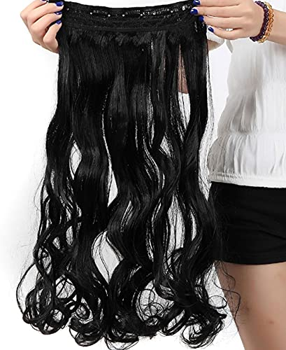 Preto escuro, encaracolado, moderno, 66 cm, meia cabeça inteira, uma peça, 5 clipes de extensões de cabelo com clipe, extensão longa e reta