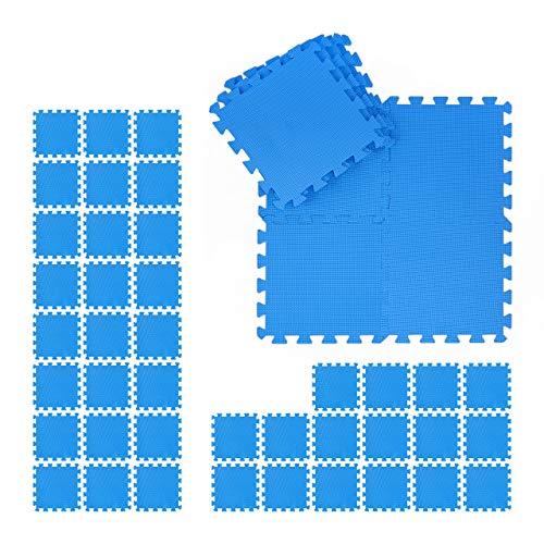 Relaxdays Bodenmatte Set, 24 Schmutzmatten für Fitness & Fitnessgeräte, EVA, BPA-frei, Fläche 2,1 m², BxT 30x30 cm, blau