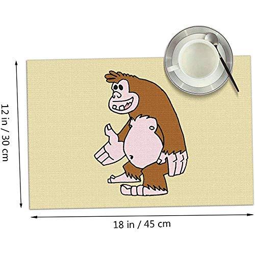 Bigfoot - Cryptids Collection Placemats Set de 4, Manteles individuales de tela...