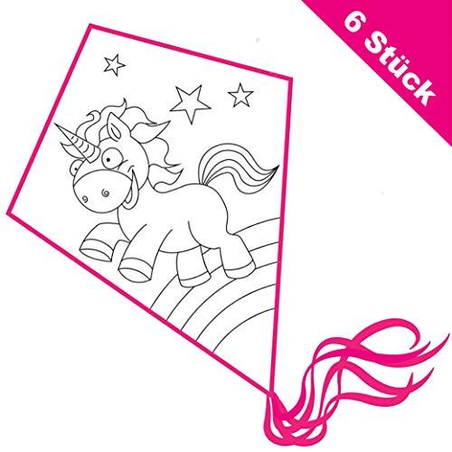 Kinder Drachen basteln: Einleiner 6er Set zum selber gestalten und ausmalen (Einhorn)