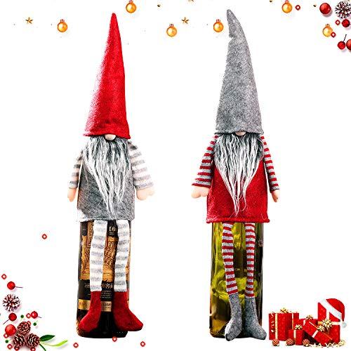 WELLXUNK Cubierta de la Botella de Vino de Navidad, 2 Piezas Bolsas Botellas Vino Navideñas, Decoración Cubierta Botella Vino, Decoración Hogar de la Mesa de Cena para Las Fiestas de Navidad