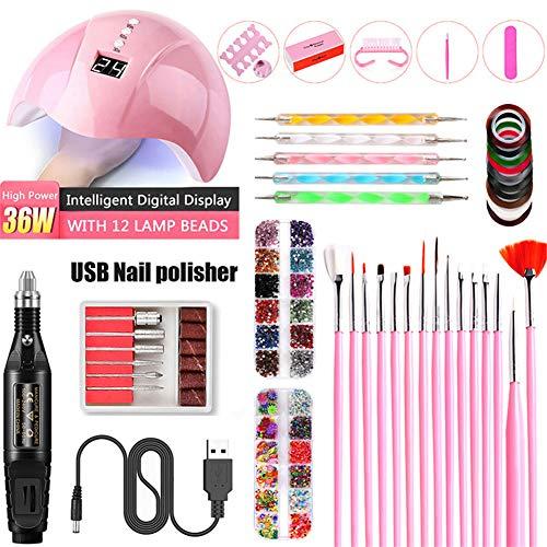 Nail Electric SA, UV Lampe de photothérapie, Nail Sticker Drill Tool Set, Les meilleurs cadeaux pour les filles de femmes,Noir