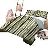 DayDayFun 3 Piece Bedding Sets Forest Bedspread Bed Cover for All Season Mother Nature Theme Illustration of Mystical Forest with Trees Print Queen Size Army Green and Sage Green