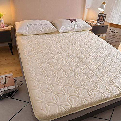 Anzkzo Japanese Floor mat Thicken Futon Tatami mattress Anti-bacterial Topper Mattress Hotel Sleeping Student Dormitory-150 * 200cm beige
