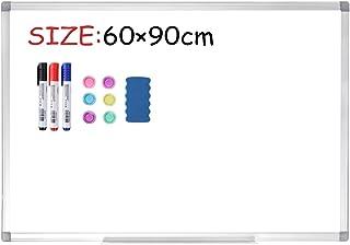 Display4top Pizarra Blanca Magnética, Pizarra Magnética De Borrado En seco, Marco De Aluminio Plateado Para Oficina O Enseñanza En El Hogar y en El Aula, 60 x 90 cm
