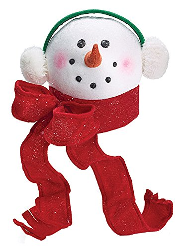 Tree Topper Snowman Head with Scarf & Earmuffs for Christmas  Decor
