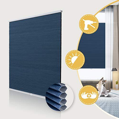 Deswell Wabenplissee ohne Bohren verdunklung doppelplissee Thermo klemmfix für Fenster & Tür, Sonnen-, Sicht- & SchallschutzWeiß-Blau 70x200cm