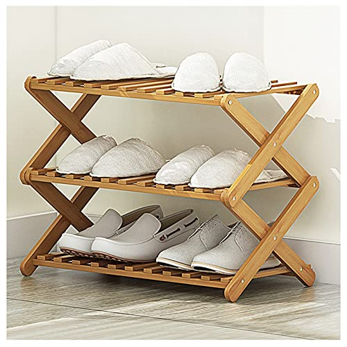 Bamboo Shoe Rack, with 3 Tier Sturdy Shoe Storage Cabinet, Space Saving Convenient Small Shoe Racks Cupboards for Hallways Outdoor Entryway Living Room Bedroom