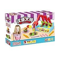 Toyvian 生地のおもちゃ色粘土金型プレイキットdiyおもちゃシミュレーションハンバーガーグッズ就学前のインタラクティブなおもちゃ