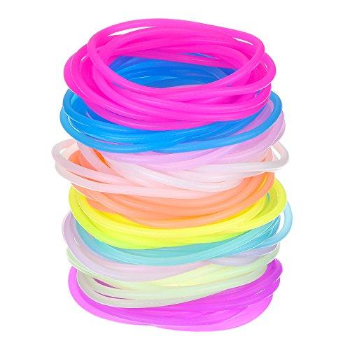 Hotop Multicolore Silicone Braccialetto Luminoso Elastici per Capelli per Ragazze Donne, 100 Pezzi (luminescente)