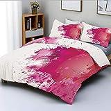 Juego de funda nórdica, exhibición artística con salpicaduras de acuarela rosada Salpicaduras de pintura Pincel fluido Decorativo Conjunto de ropa de cama decorativa de 3 piezas con 2 fundas de almoha