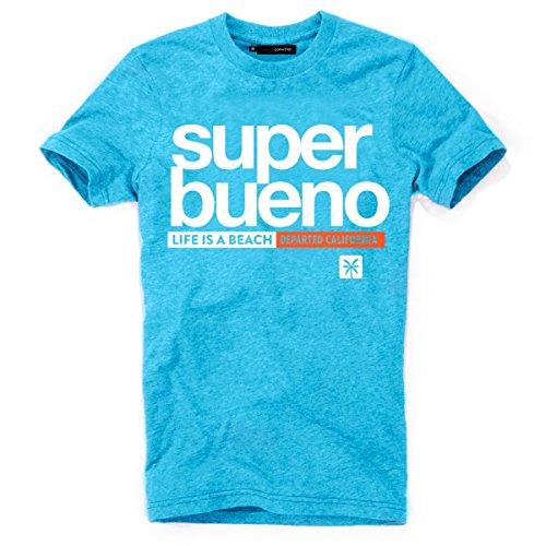 DEPARTED Herren T-Shirt mit Print/Motiv 4169-180 - New fit Größe XL, Island Blue Melange